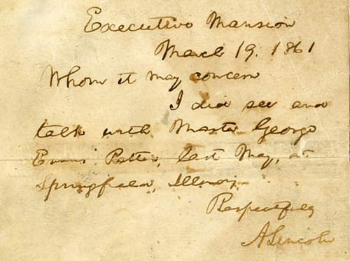 Abraham Lincoln's Letter to George Patten, confirming their meeting